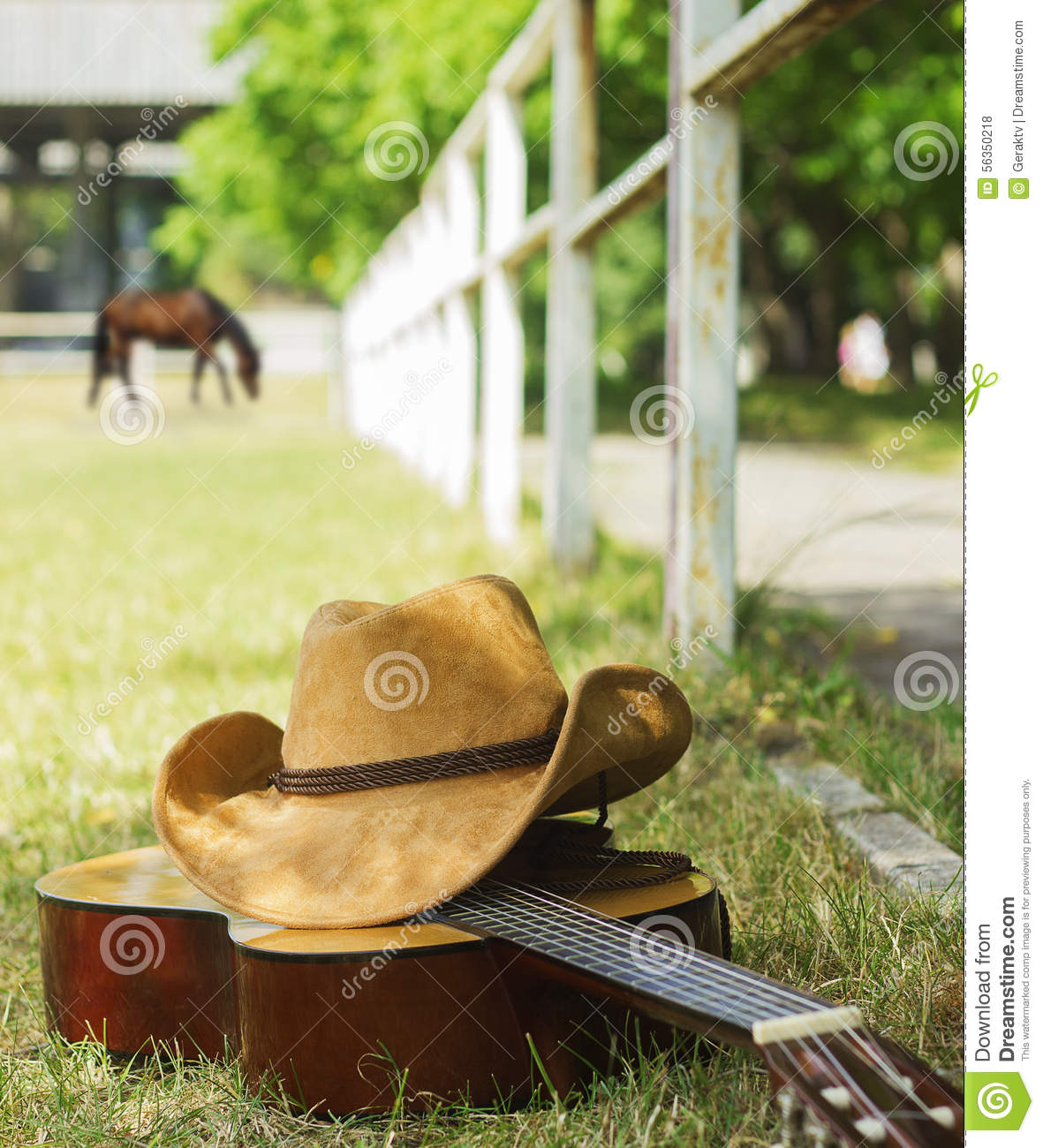 American Ranch With Cowboy Hat And Guitar Stock Photo