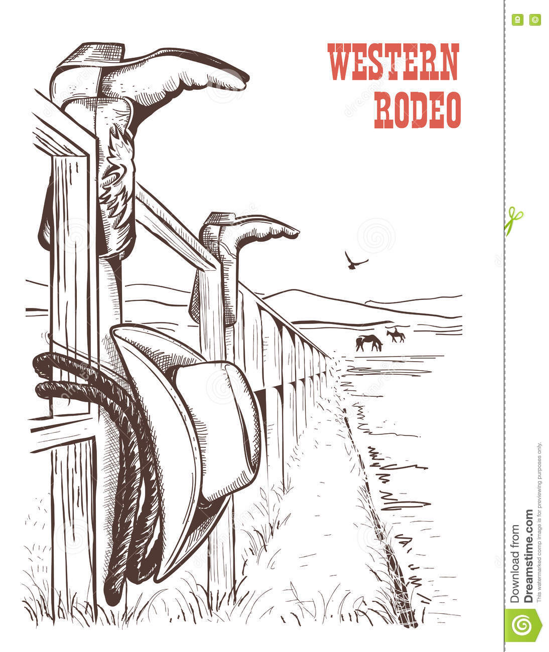 american ranch landscape cowboy clothes fence vector han hand draw poster 78413937 american ranch landscape with cowboy clothes on fence vector han