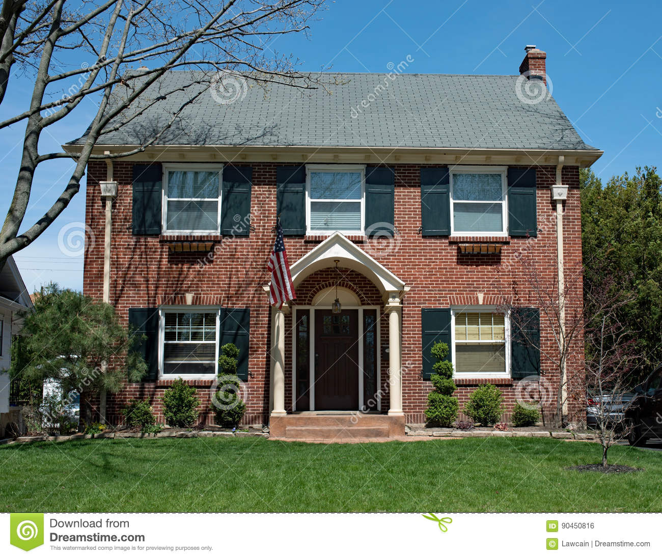 American Red Brick House In Springtime Stock Photo Image