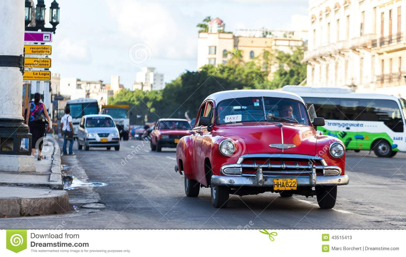 a red classic car drived on the street in havana city editorial photo 44180609. Black Bedroom Furniture Sets. Home Design Ideas