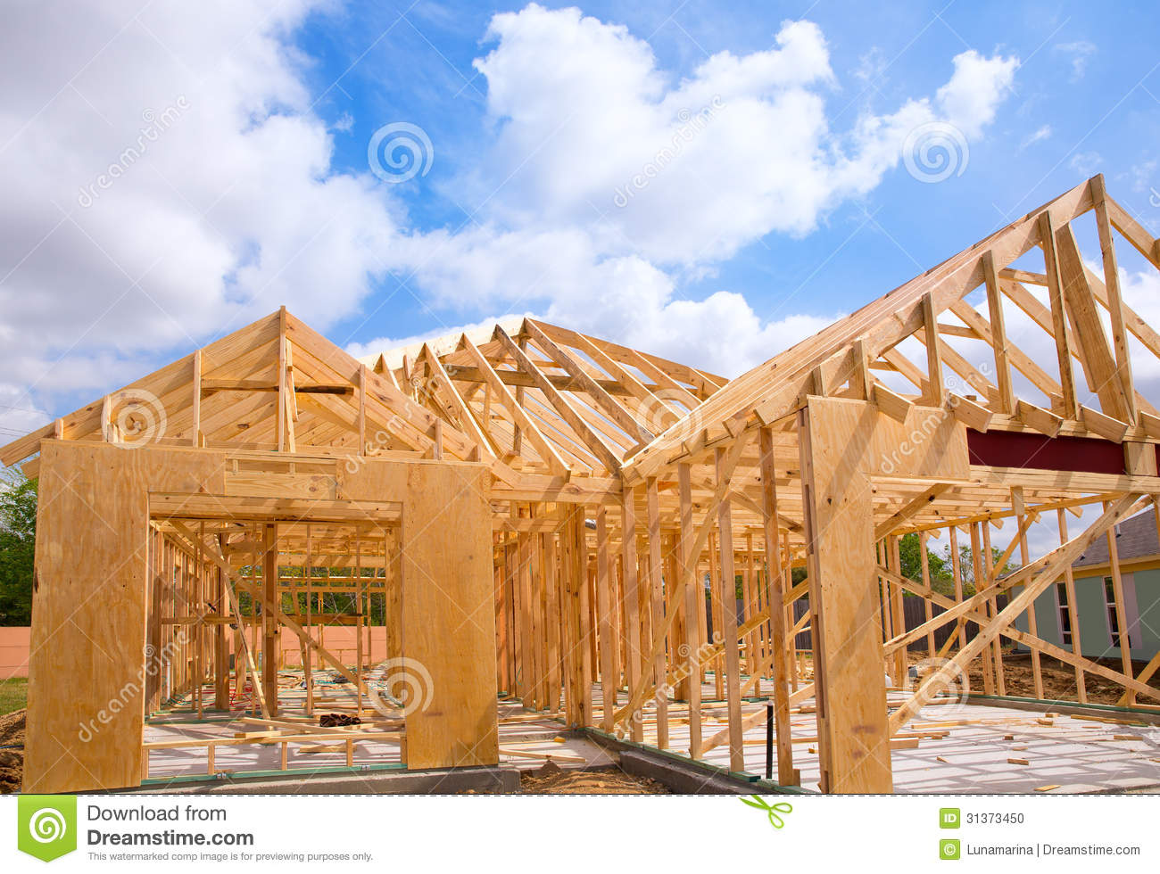 american residential wooden house contruction stock photo