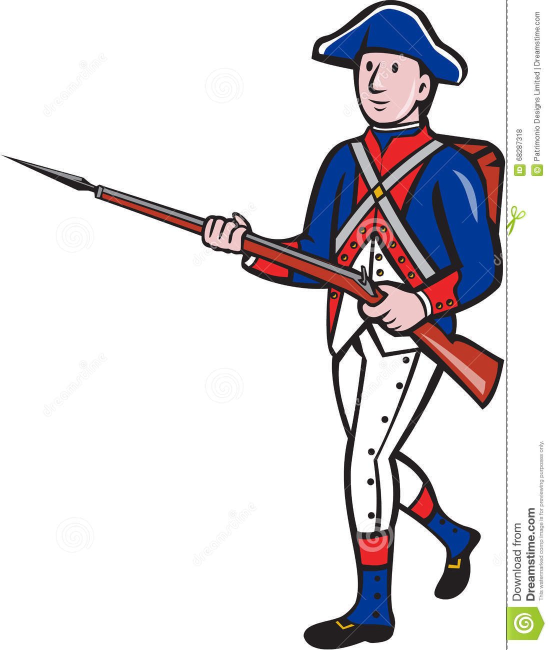 American Revolutionary Soldier Marching Cartoon Stock ... American Revolution Soldier Clipart