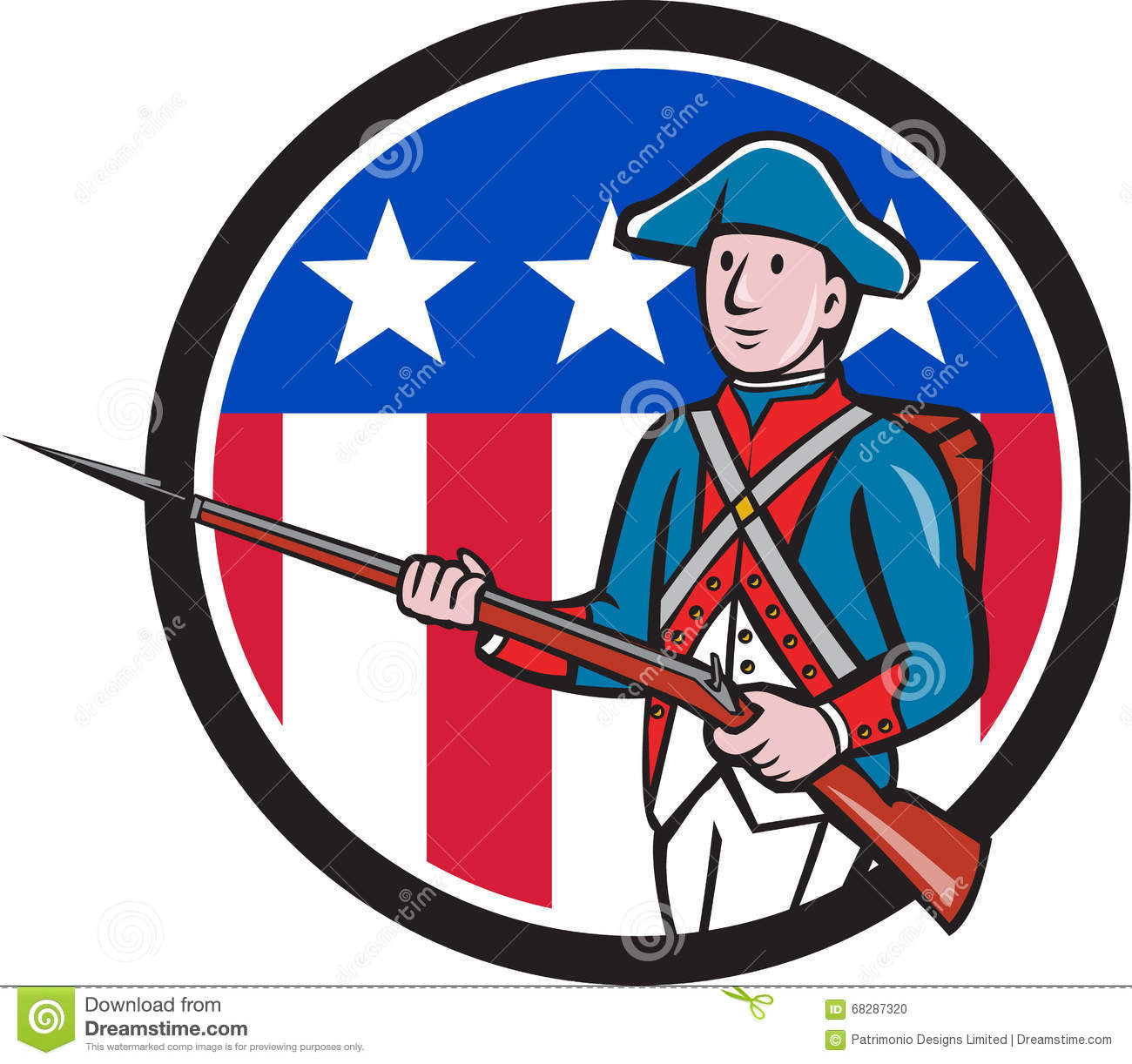 American Revolutionary Soldier USA Flag Circle Cartoon ... American Revolution Soldier Clipart