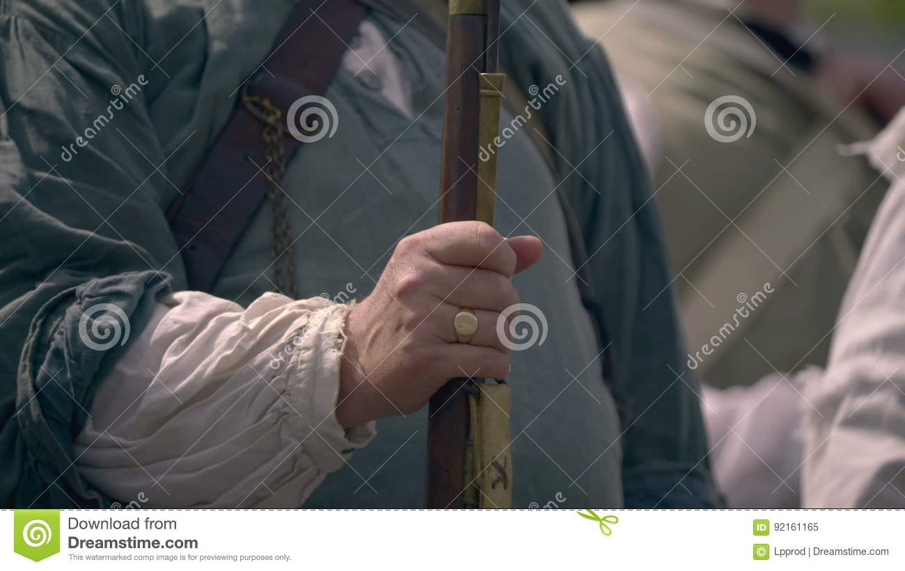 American Revolutionary War Holds His Musket Rifle Stock