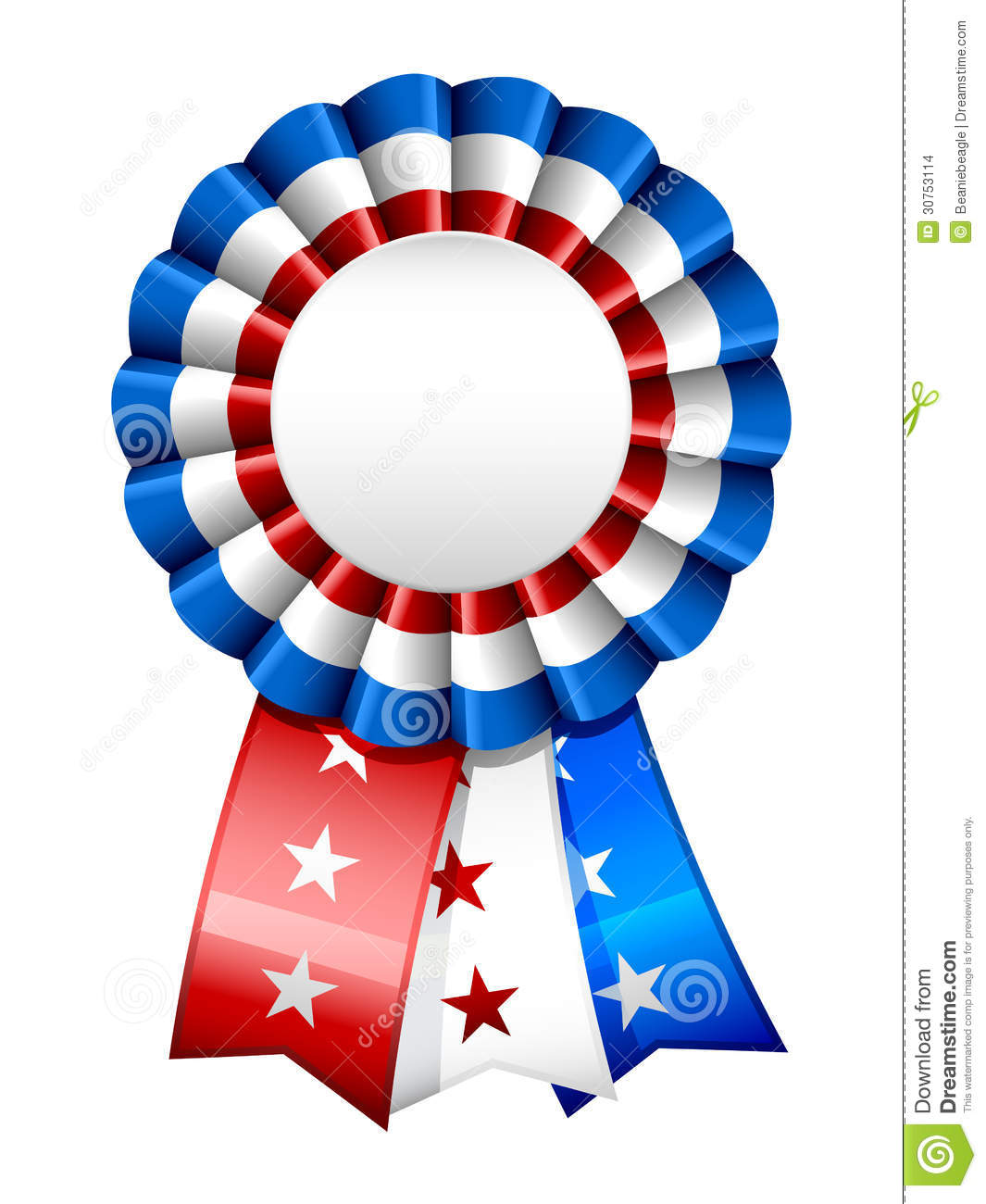 blank American star spangled red, white and blue ribbon/badge.