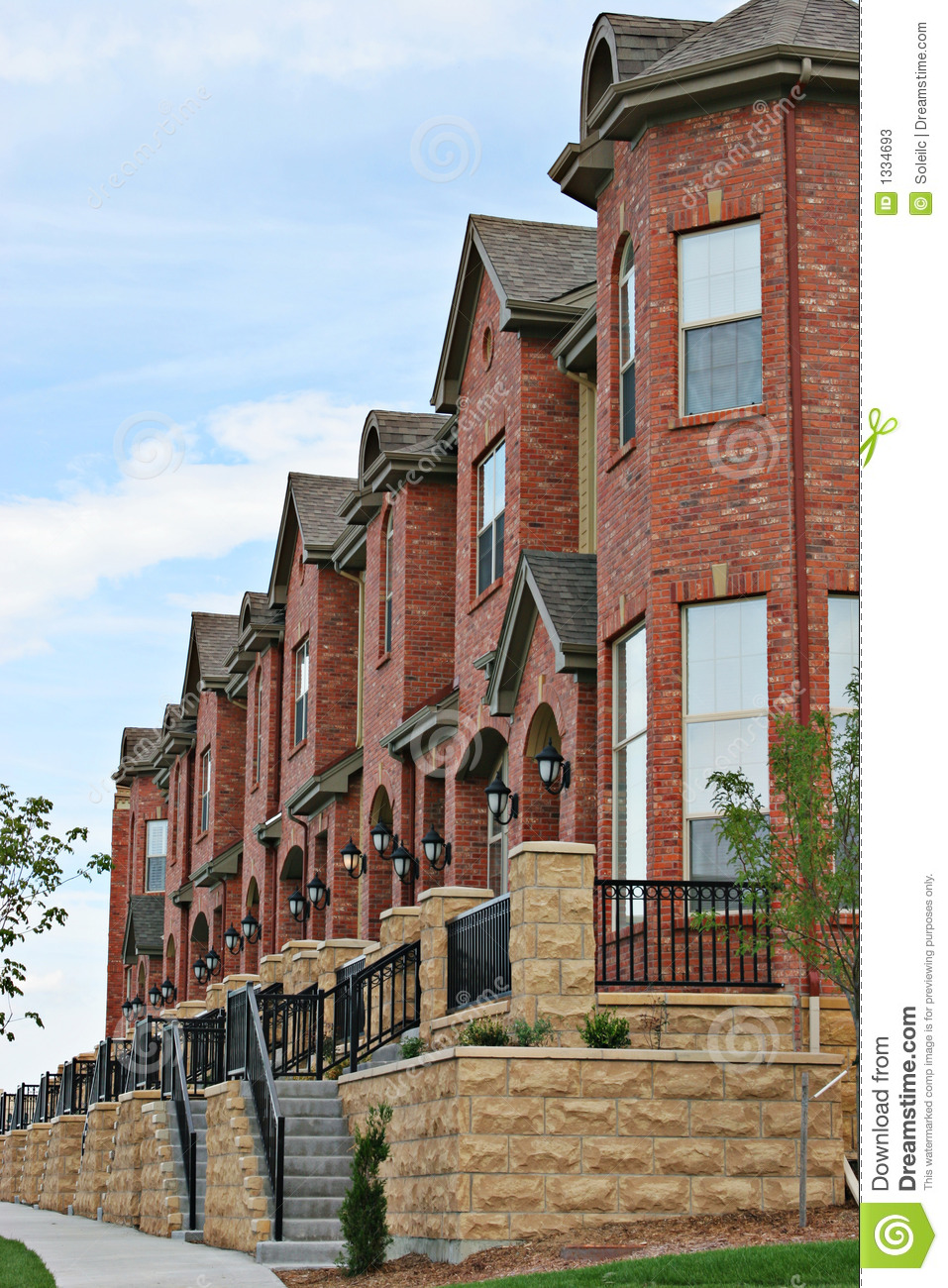 American Row Houses Stock Photos Image 1334693