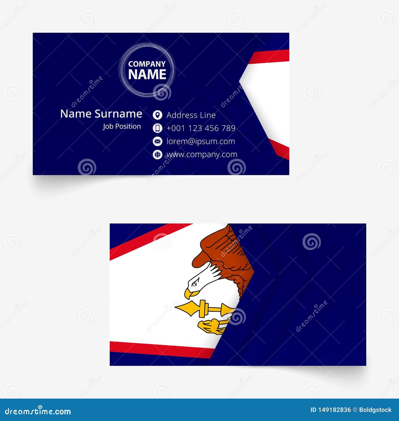 american samoa flag business card standard size 90x50 mm