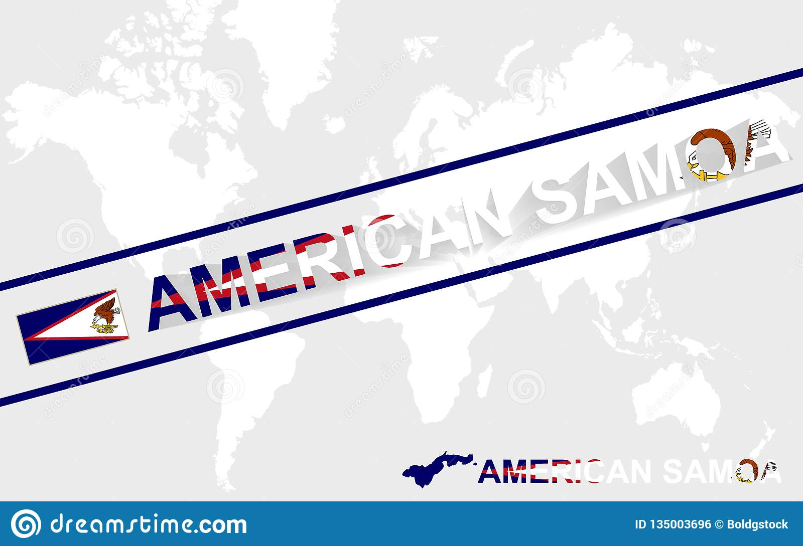 American Samoa Map Flag And Text Illustration Stock Vector ...