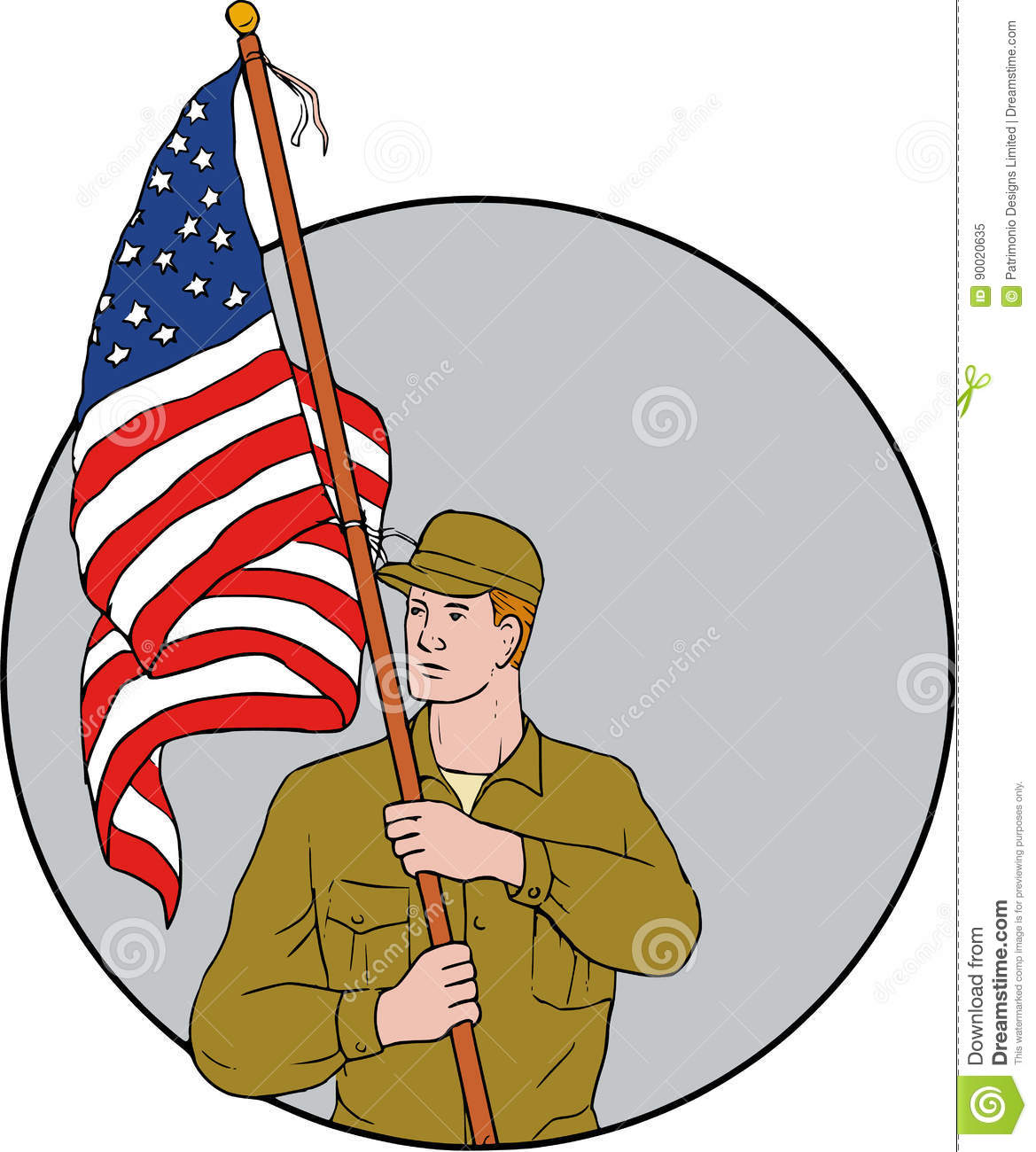 American Soldier Holding Usa Flag Circle Drawing Stock Vector