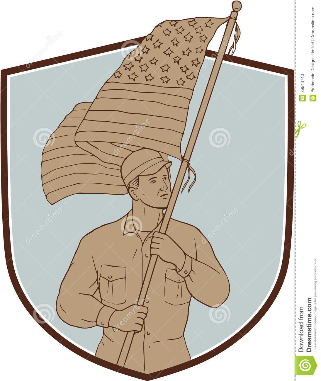 American Soldier Waving Usa Flag Crest Drawing Stock Illustration