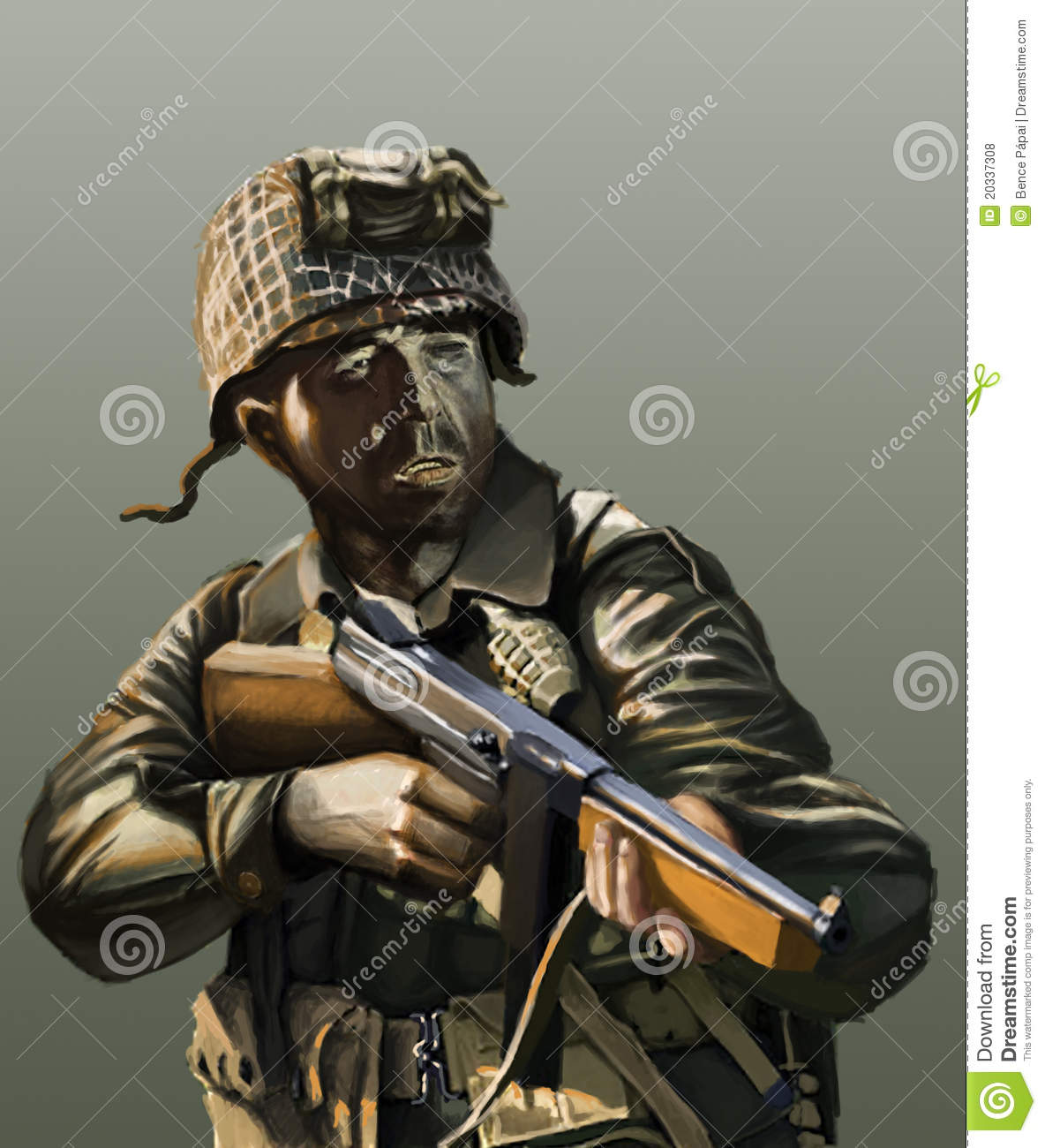 American Soldier Ww2 Stock Illustration Illustration Of