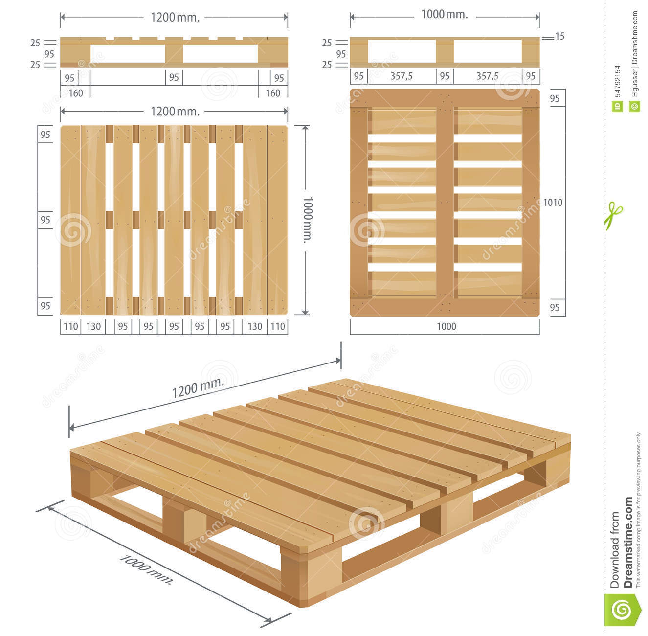 American Standard Pallet Views Stock Illustration Image 54792154