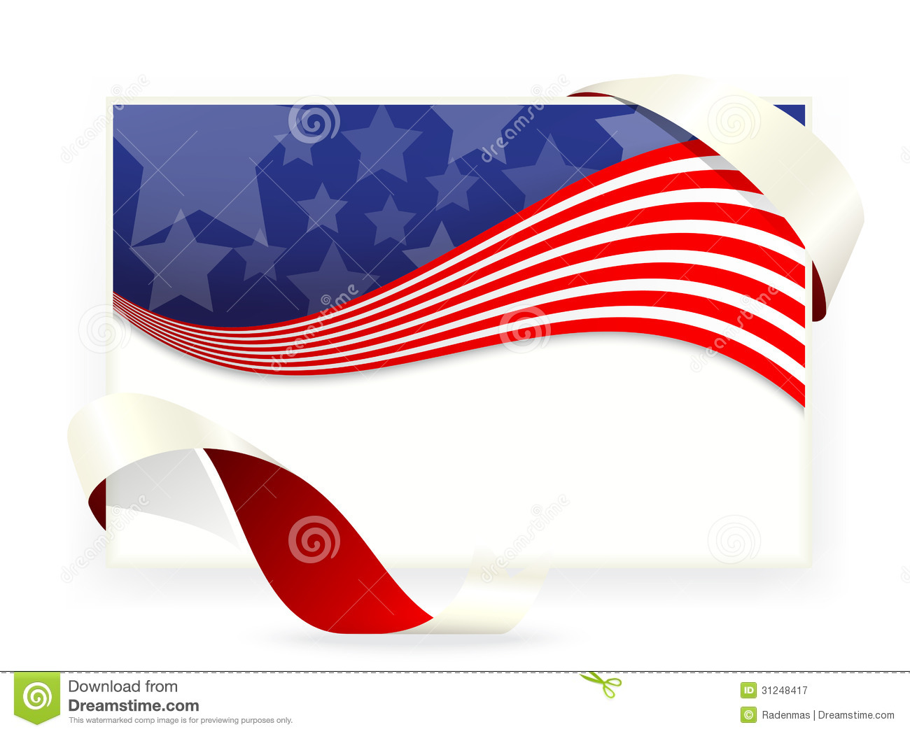 American Star Flag , Business Cards With Ribbon Stock Vector ...