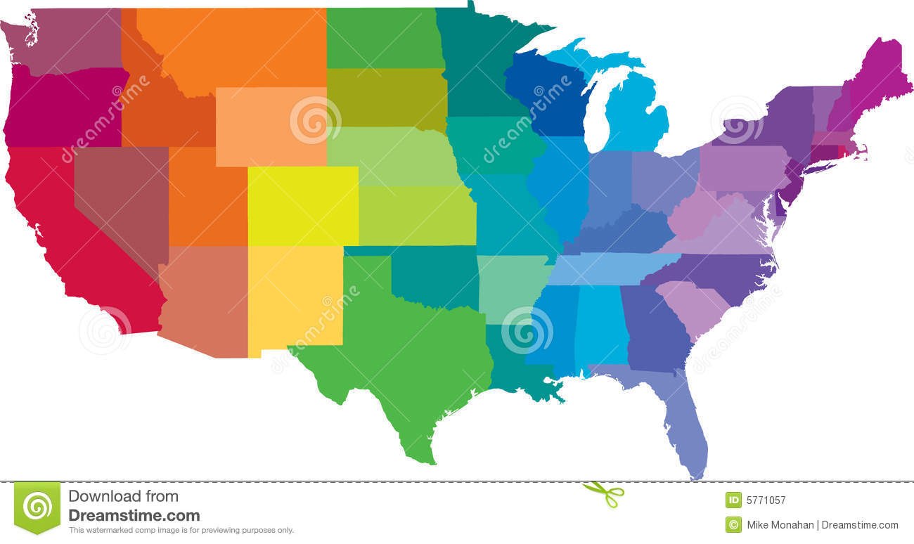 American States Map Royalty Free Stock Photography Image - American state maps