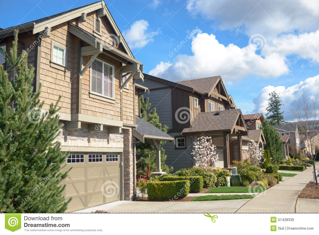 American Street With Beautiful Houses Stock Image Image