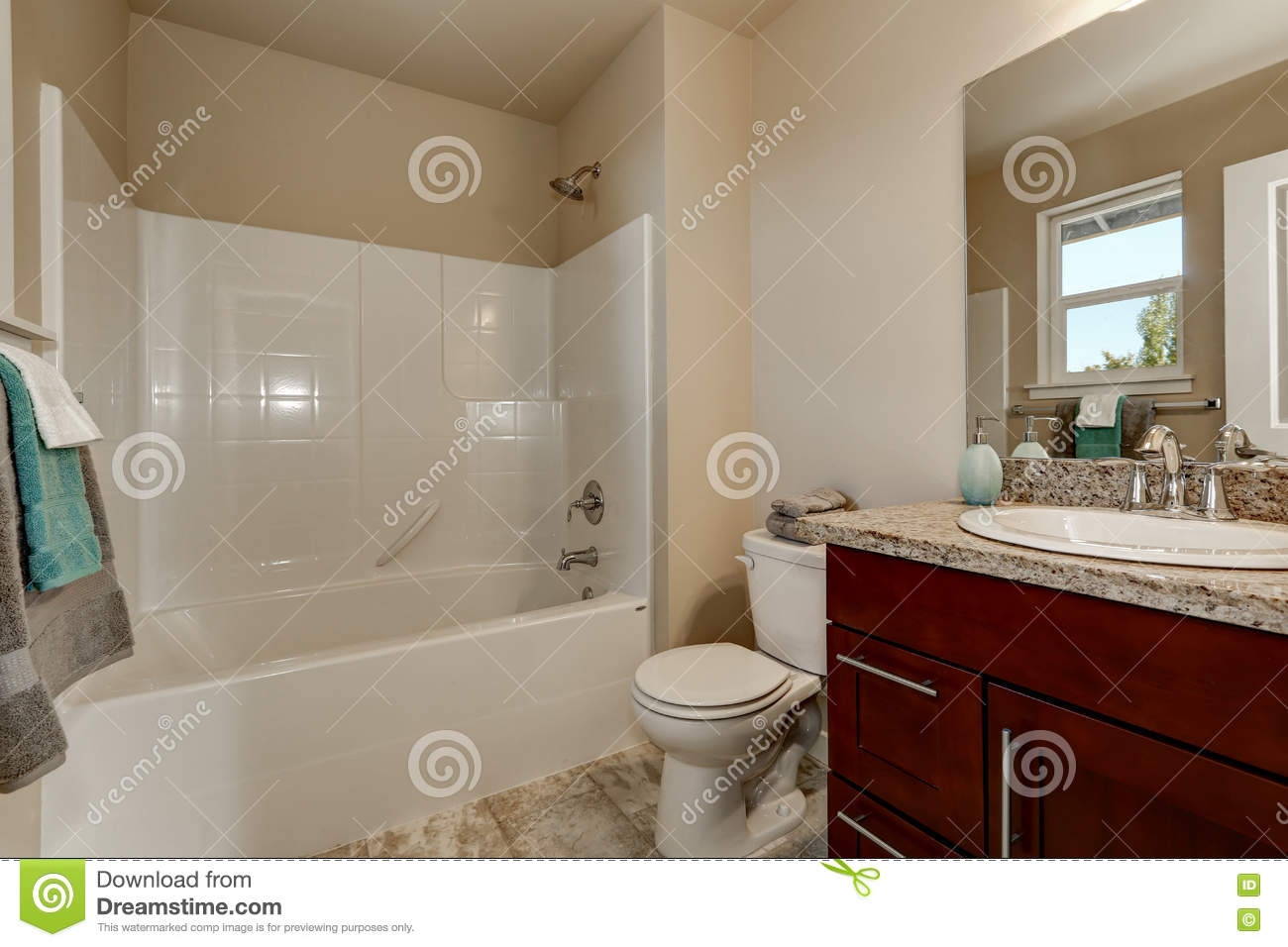 American Style Bathroom With Vanity Cabinet Toilet And Shower Stock Image Image Of Shower