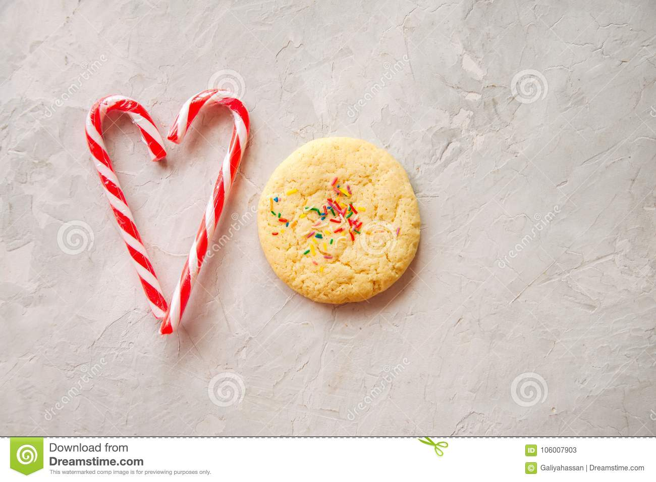American Style Round Cookie With Confetti Shortbread And Heart
