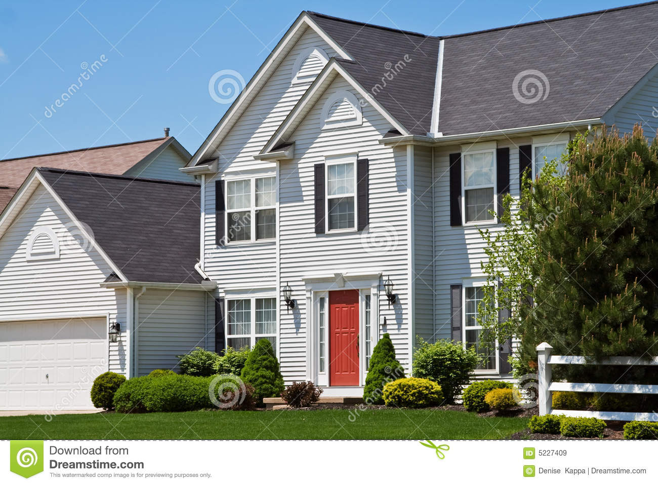 American Suburban House Stock Image Image Of Blue