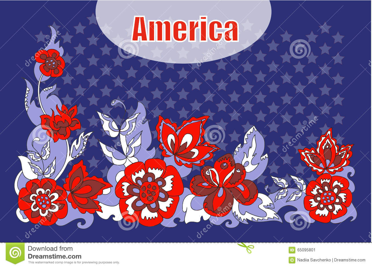 American Symbolism Ornament Flowers Stock Vector Illustration Of