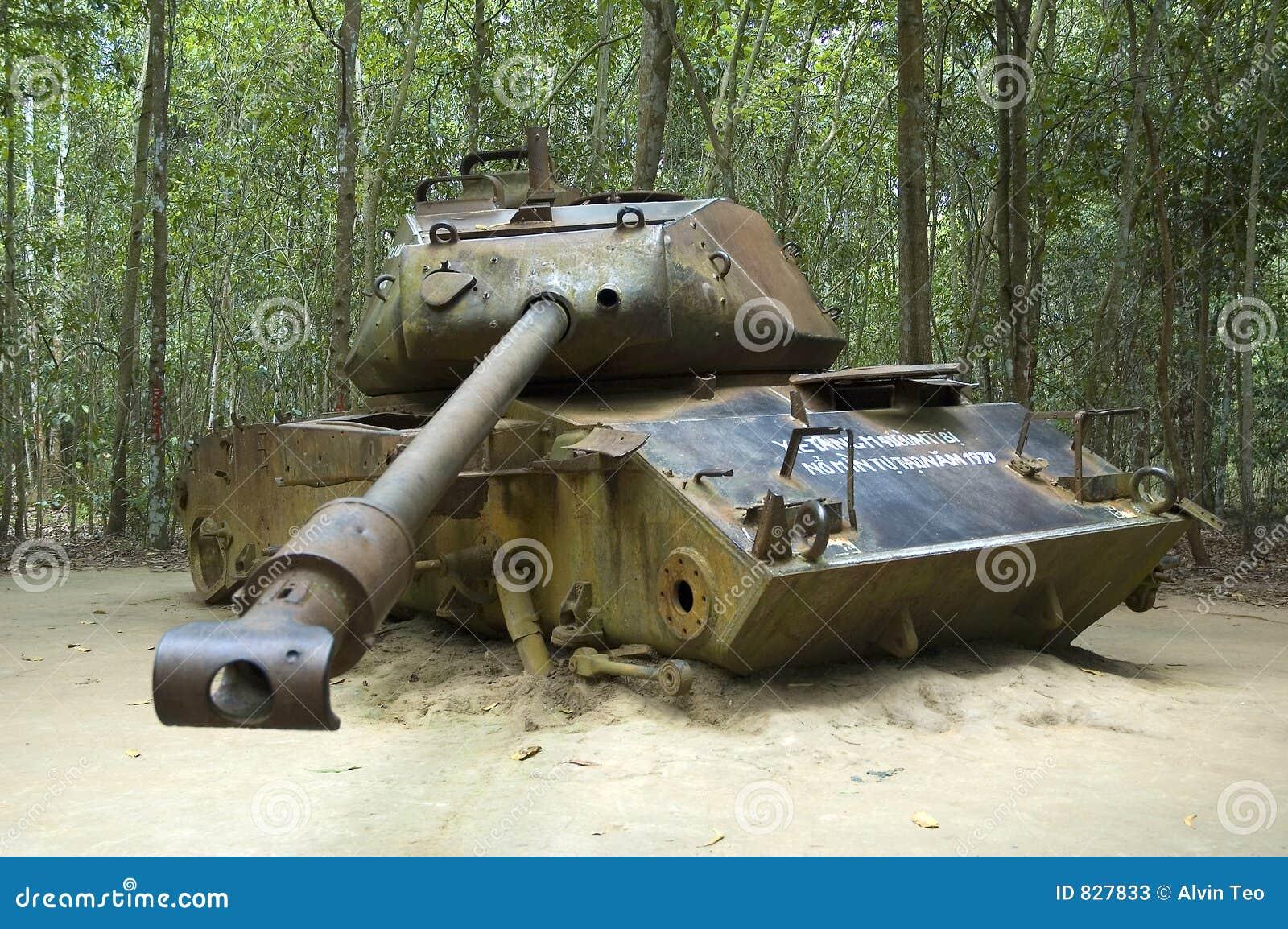 American tank destroyed during Vietnam War