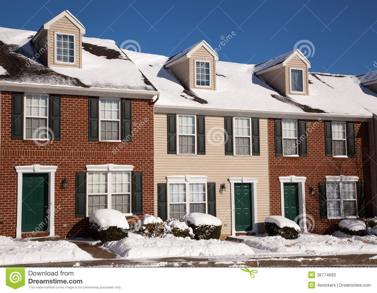 American Traditional Winter Townhomes Brick And Wo Stock