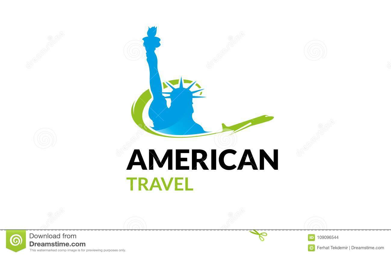American Travel Logo Template Stock Illustration