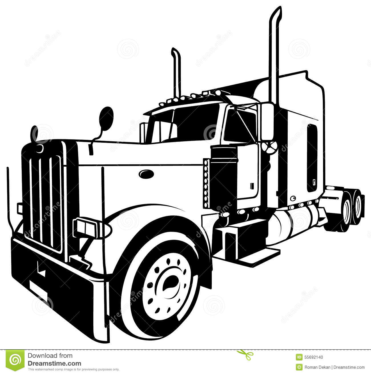 Stock Illustration American Truck Black Outlined Illustration Vector Image55692140 on kenworth big rig truck