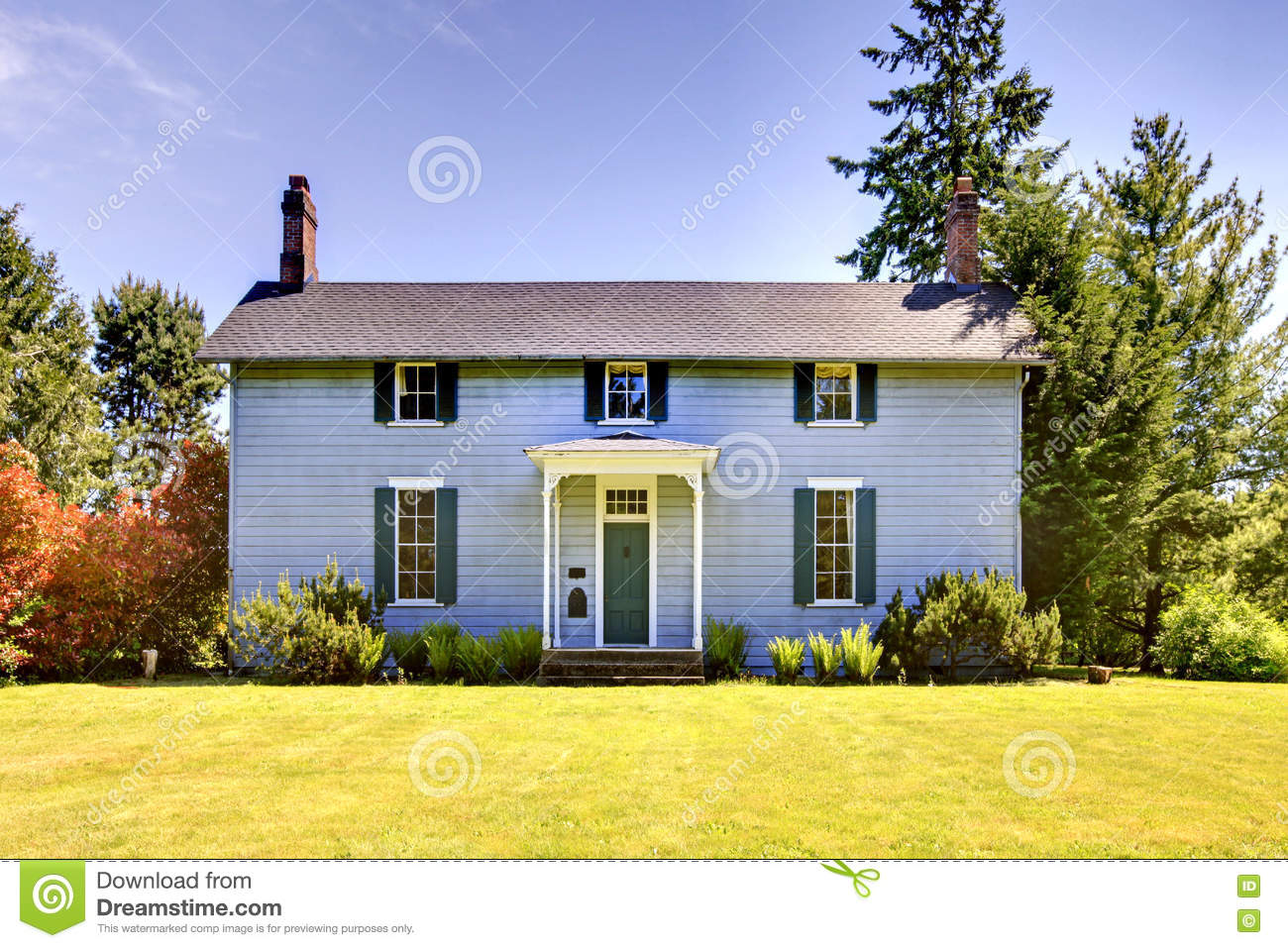 American two story house with blue exterior paint and - How to paint a 2 story house exterior ...