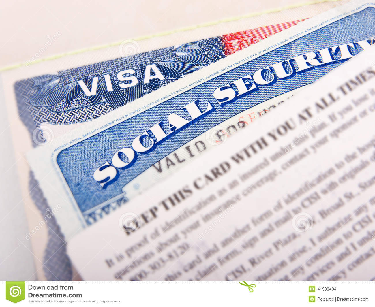 Access Social American - Tourism Of Stock Card 41900404 And Security Visa Image Photo