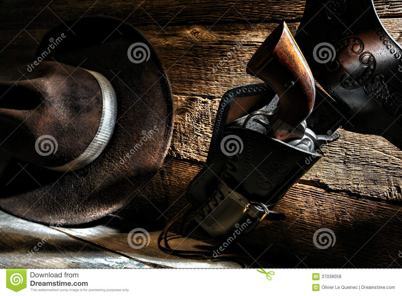 American West Cowboy Gun Holster And Western Hat Stock