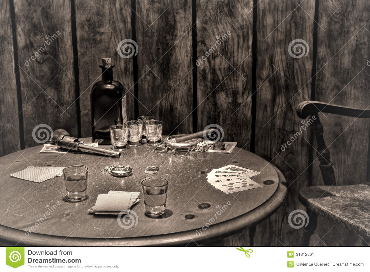 American West Legend Antique Saloon Gambling Table Stock Image - Image: 31812361