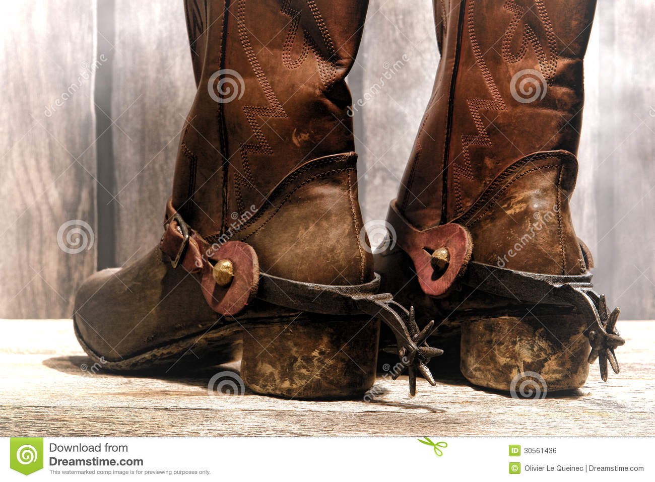 American West Rodeo Cowboy Boots With Riding Spurs Stock Photos ...