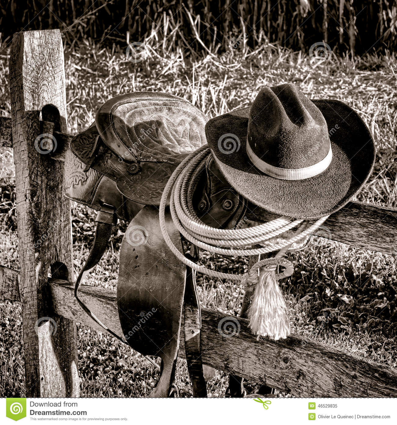 American West Legend Rodeo Western Saddle on Fence