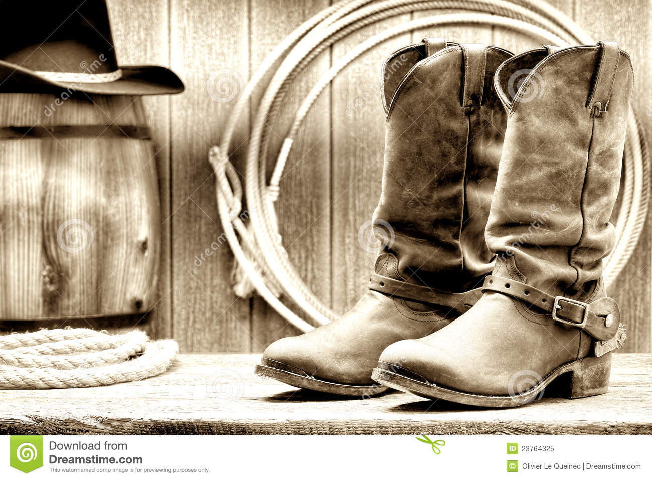 American West Rodeo Cowboy Boots In A Ranch Barn Stock Photo ...