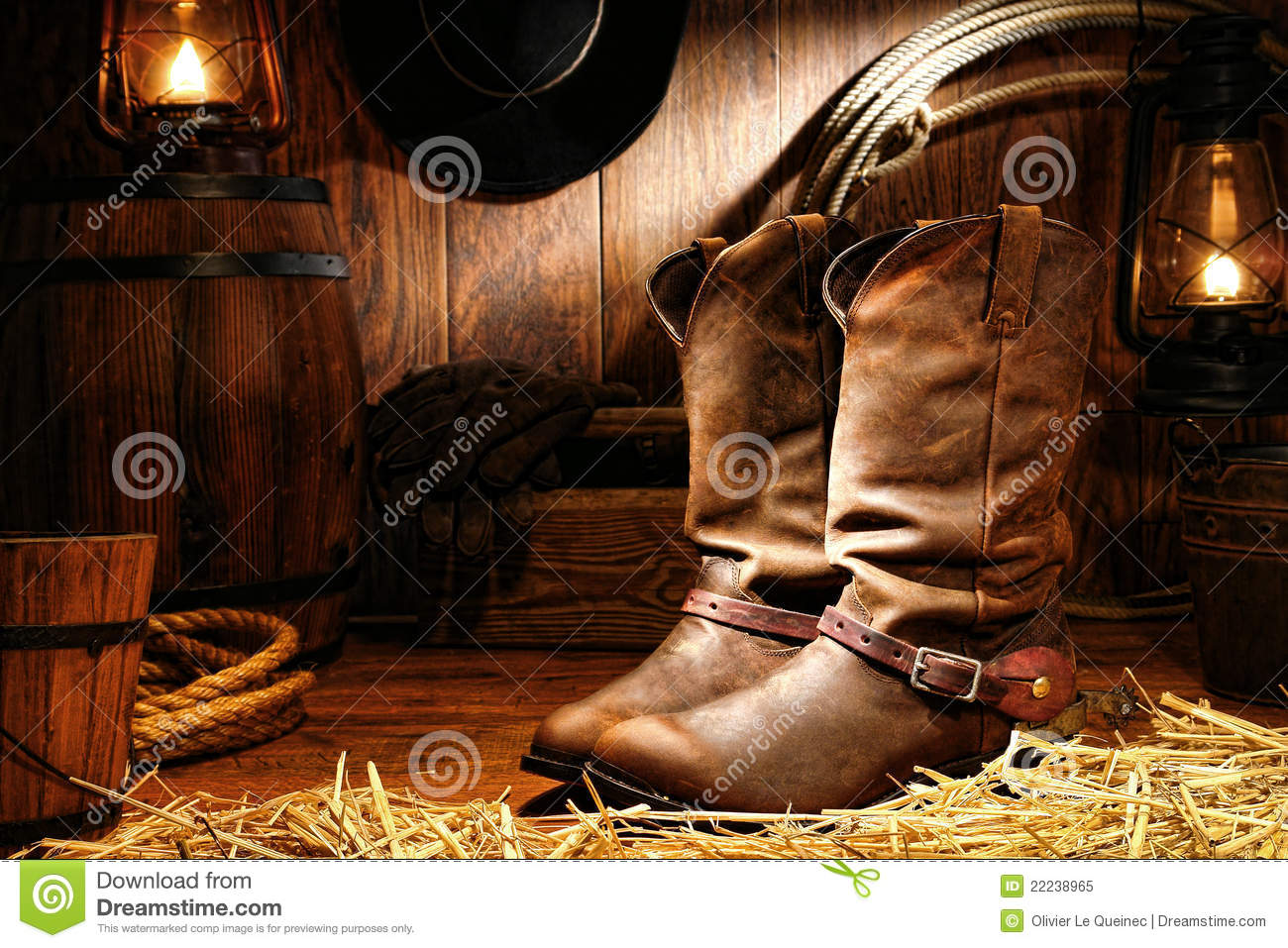 American West Rodeo Cowboy Boots in a Ranch Barn