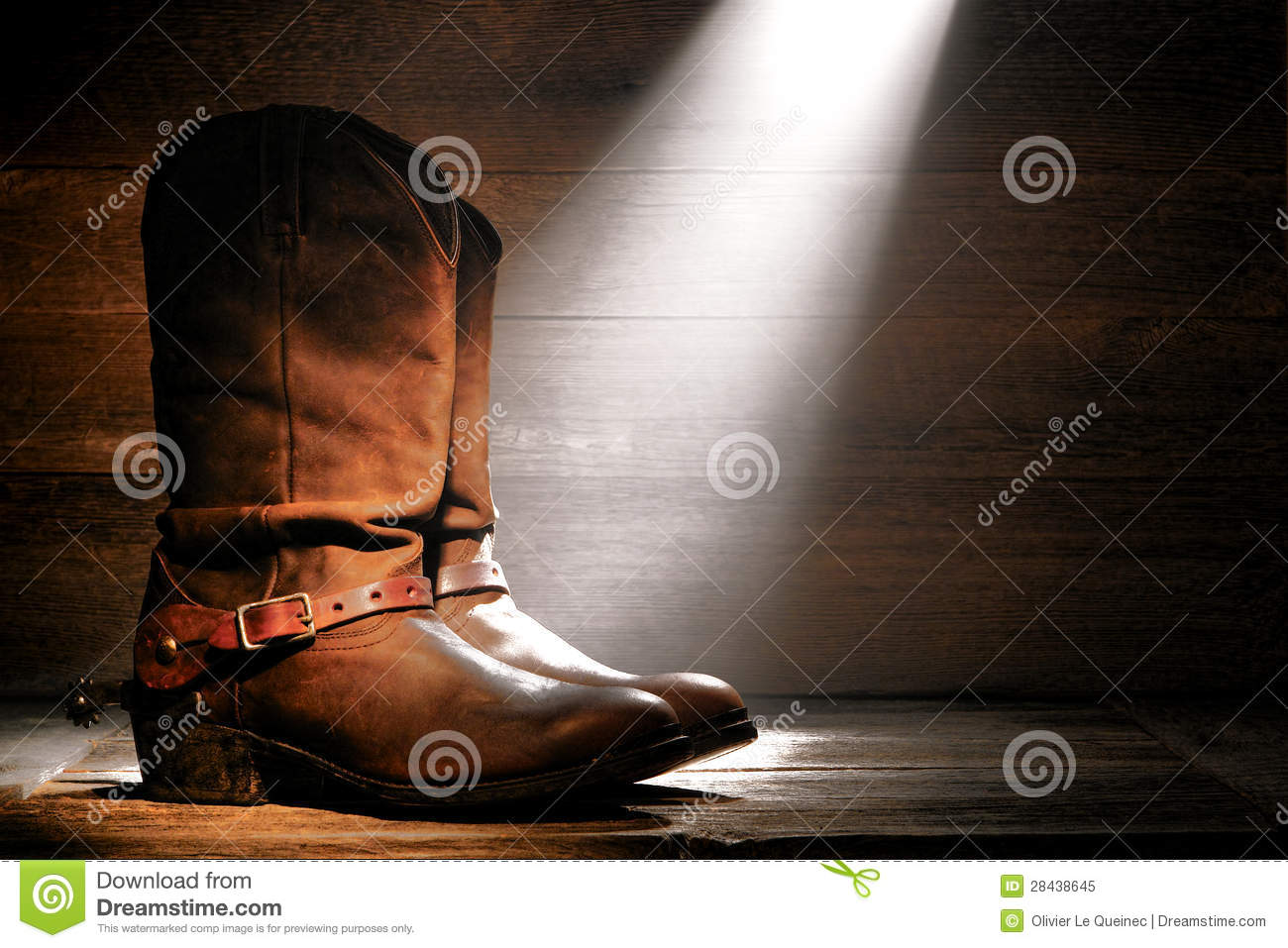 American West Rodeo Cowboy Boots And Riding Spurs Stock