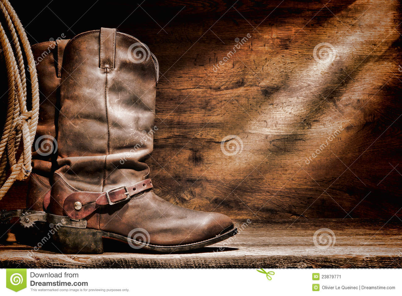american west rodeo cowboy boots and western spurs stock image