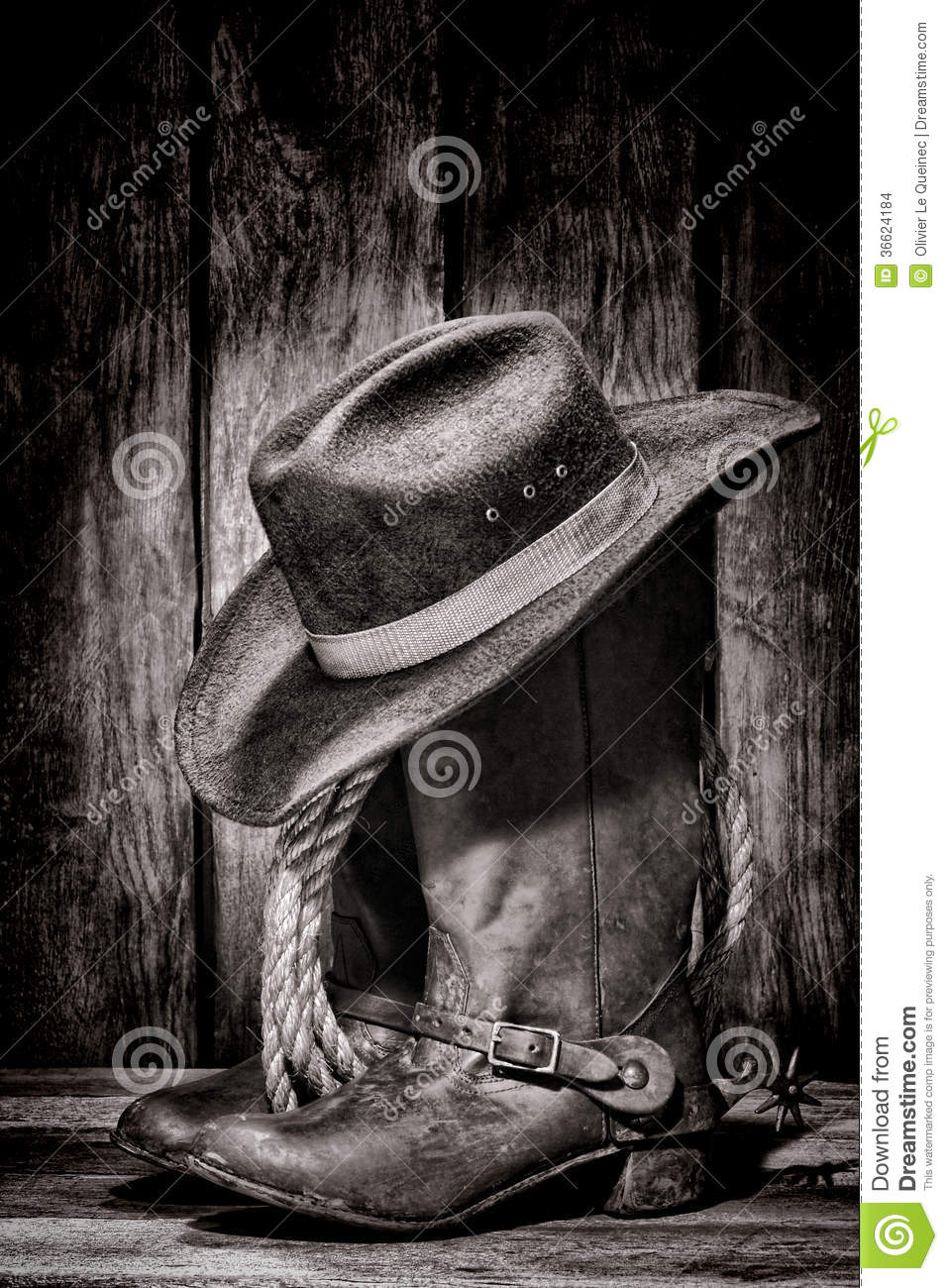 American West Rodeo Cowboy Hat Atop Western Boots Stock Photo ... 9058f89ce2e9