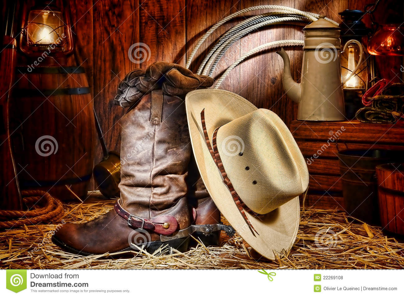 American West Rodeo Cowboy Hat And Boots In A Barn Royalty Free Stock ...