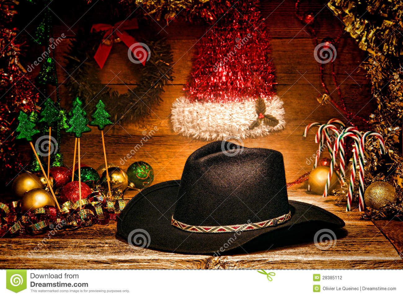 American West Rodeo Cowboy Hat For Christmas Card Stock Photo ...