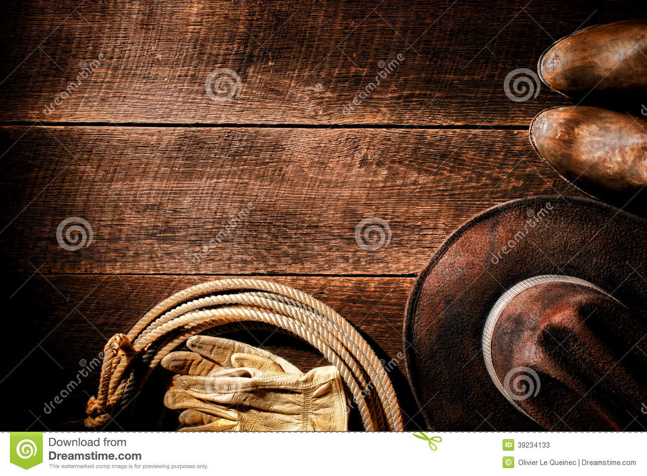 American West Rodeo Cowboy Hat And Gear Background Stock