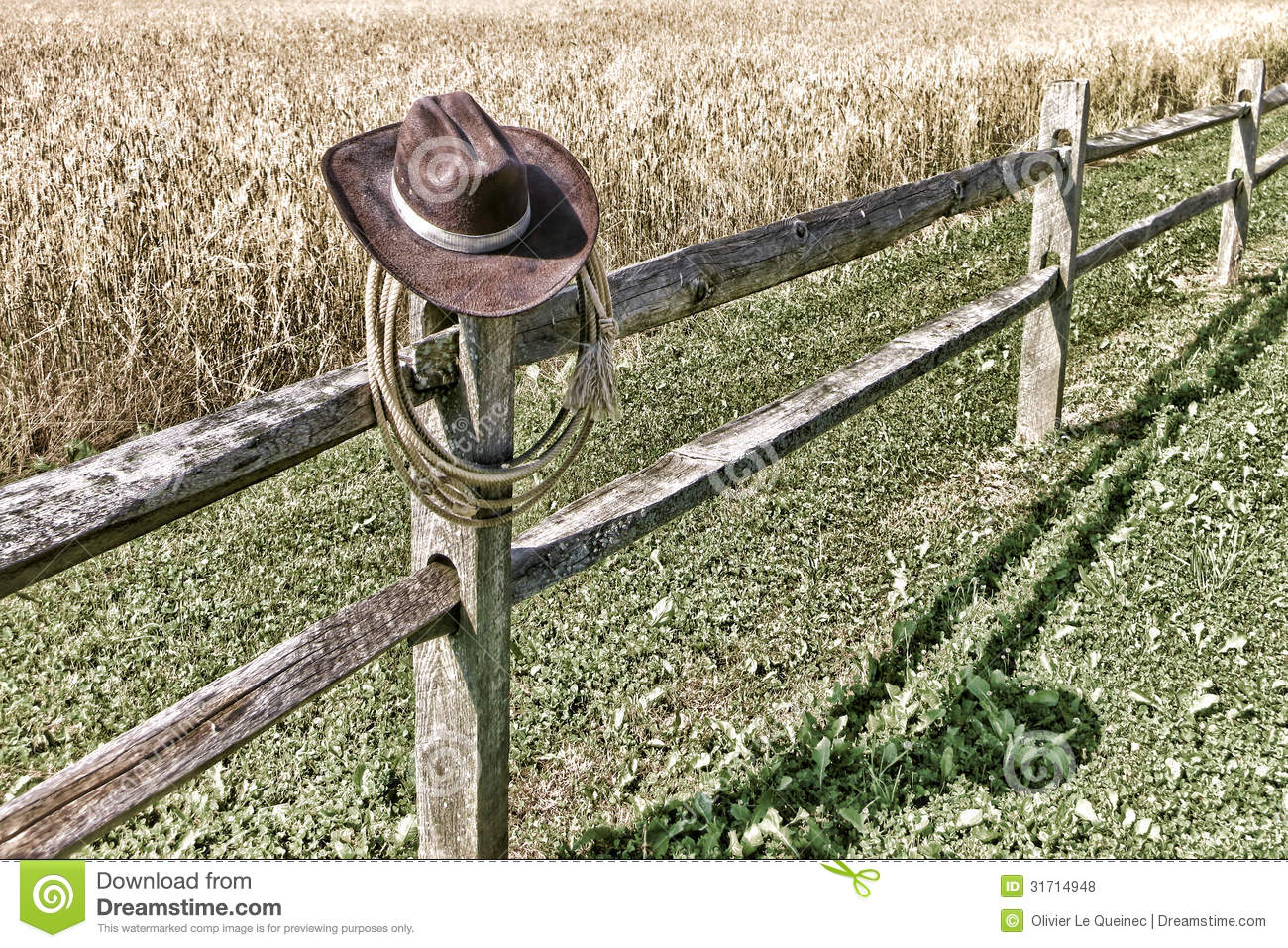 American West Rodeo Cowboy Hat And Lariat On Fence Royalty Free Stock ...