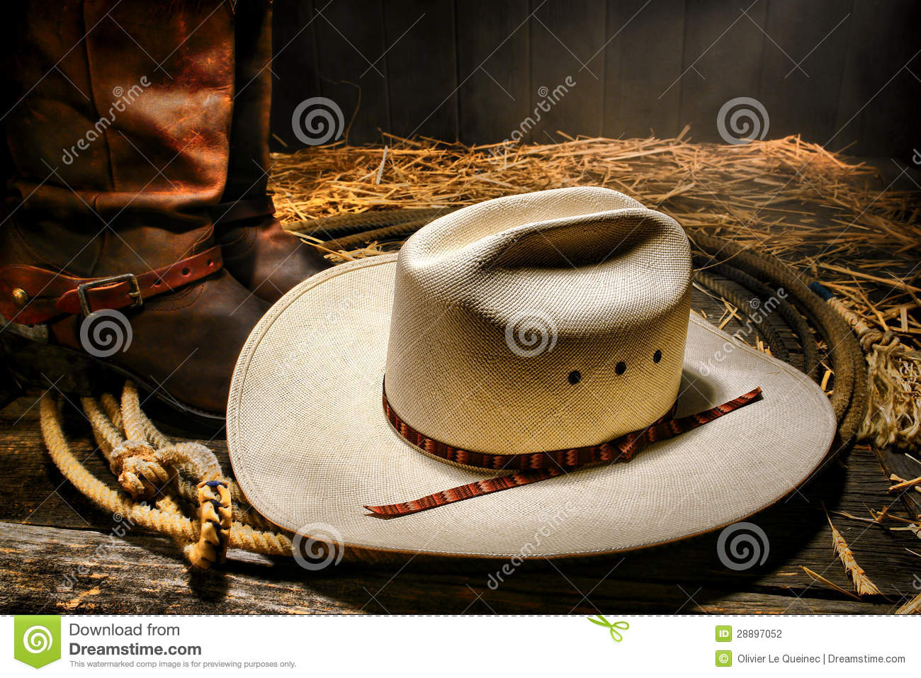 American West Rodeo Cowboy Hat On Lasso With Boots Stock