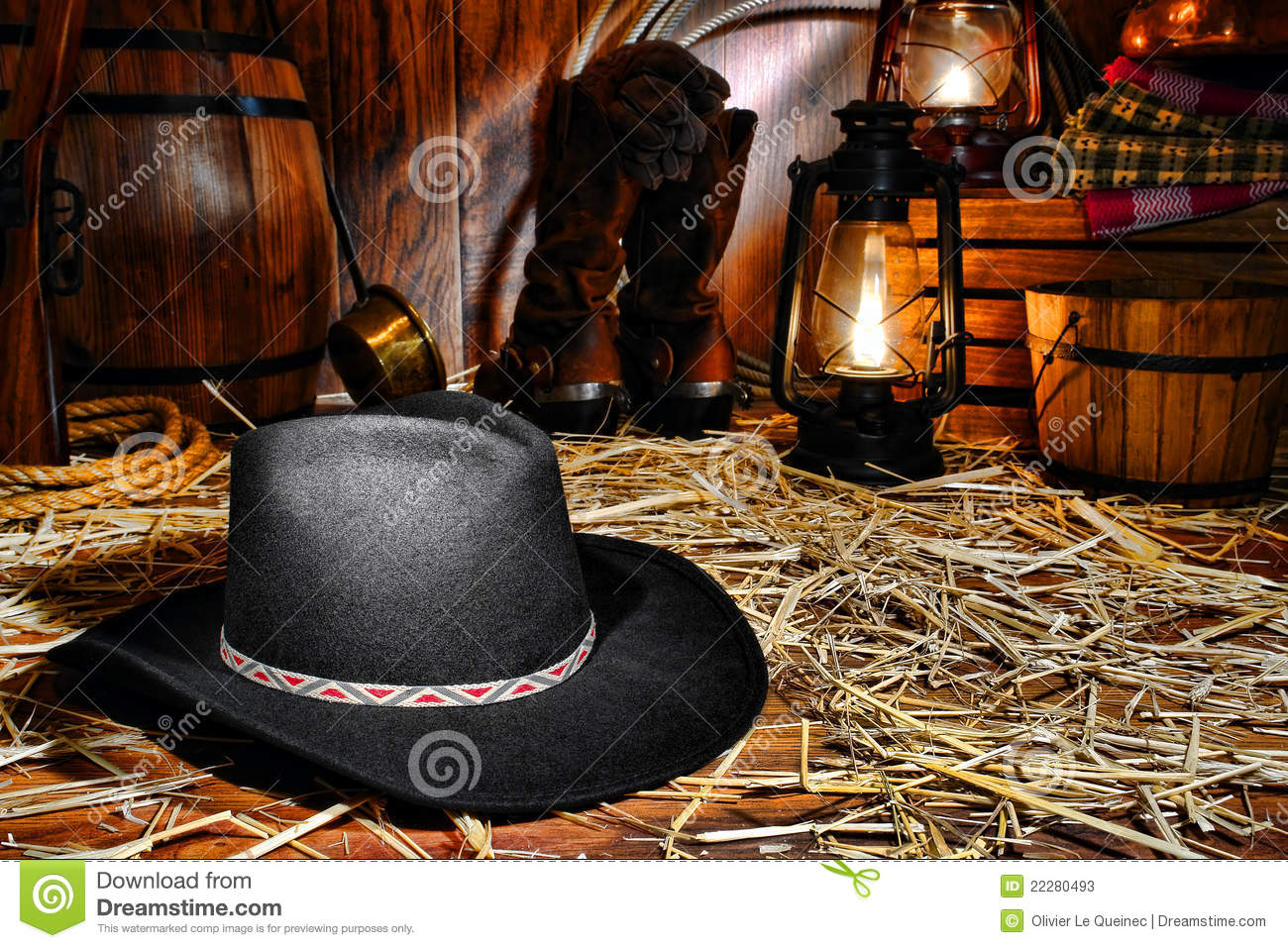 American West Rodeo Cowboy Hat In Old Western Barn Stock