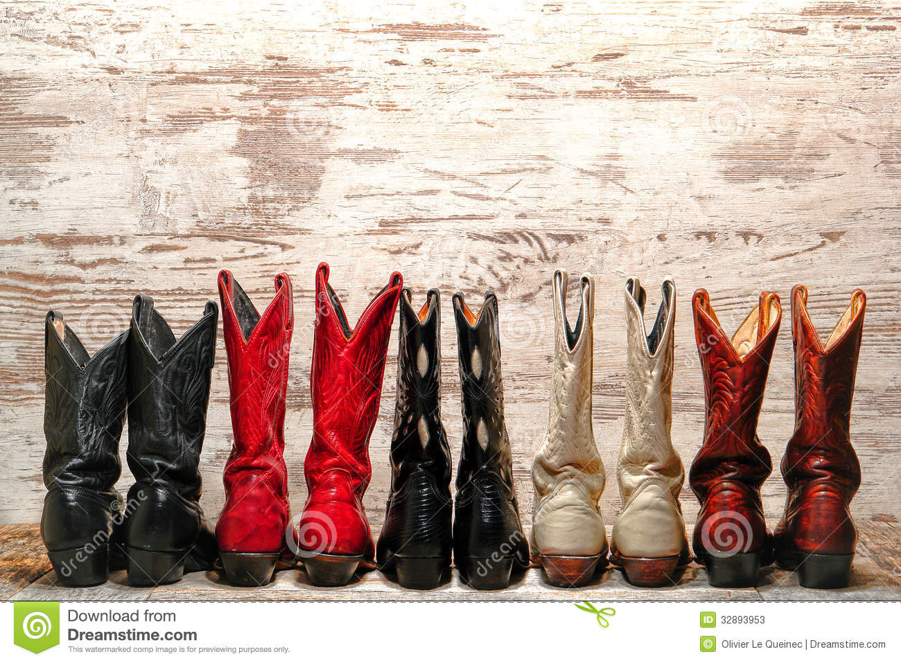 American West Rodeo Cowgirl Boots Western Line Stock Image