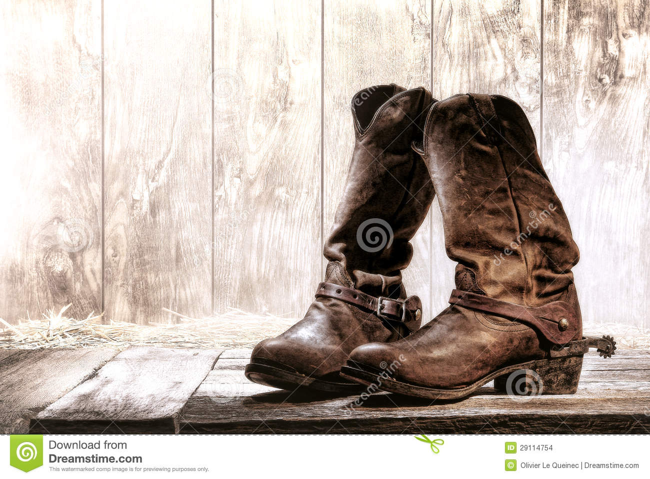 American West Rodeo Old Slouch Roper Cowboy Boots Stock Images ...