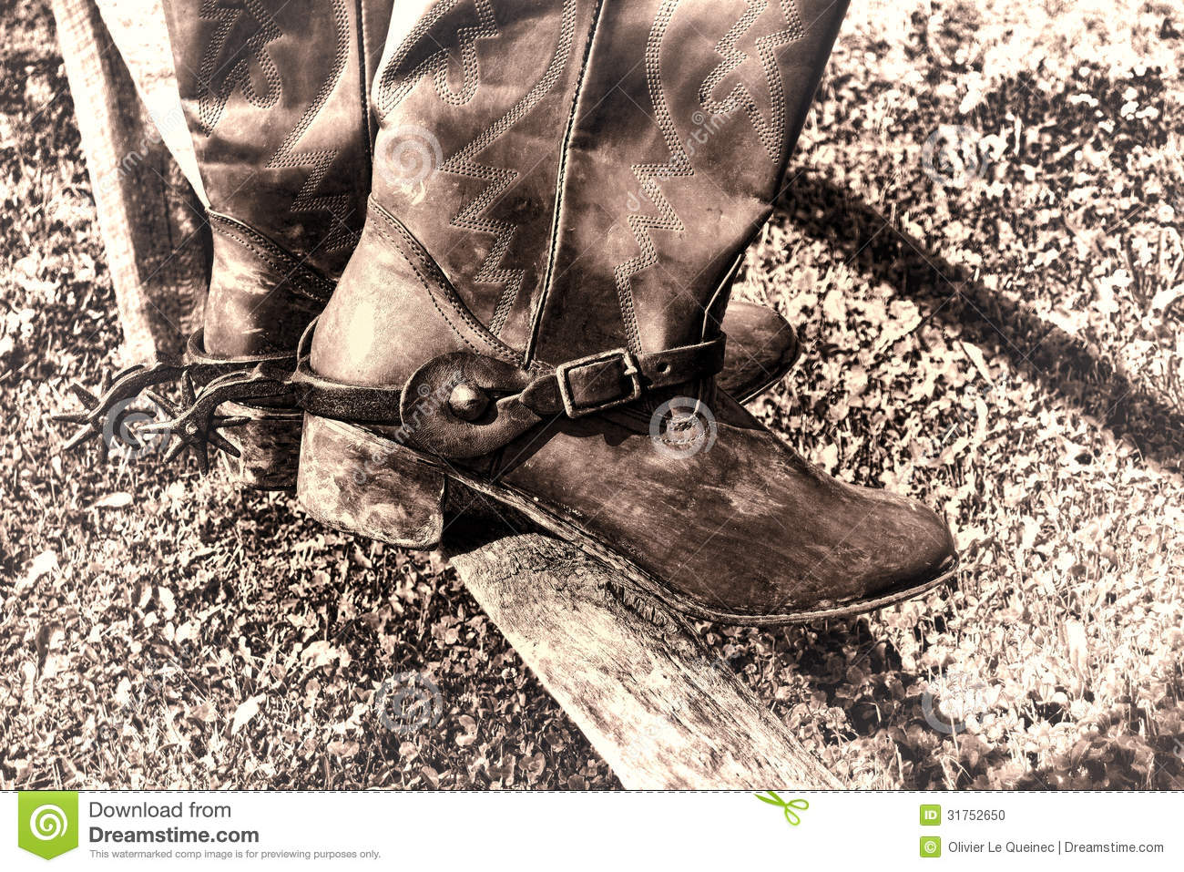 1b1732700a7 American West Rodeo Vintage Cowboy Boots On Fence Stock Photo ...
