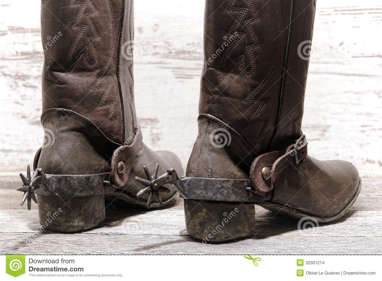 American West Rodeo Western Spurs On Cowboy Boots Stock Images ...