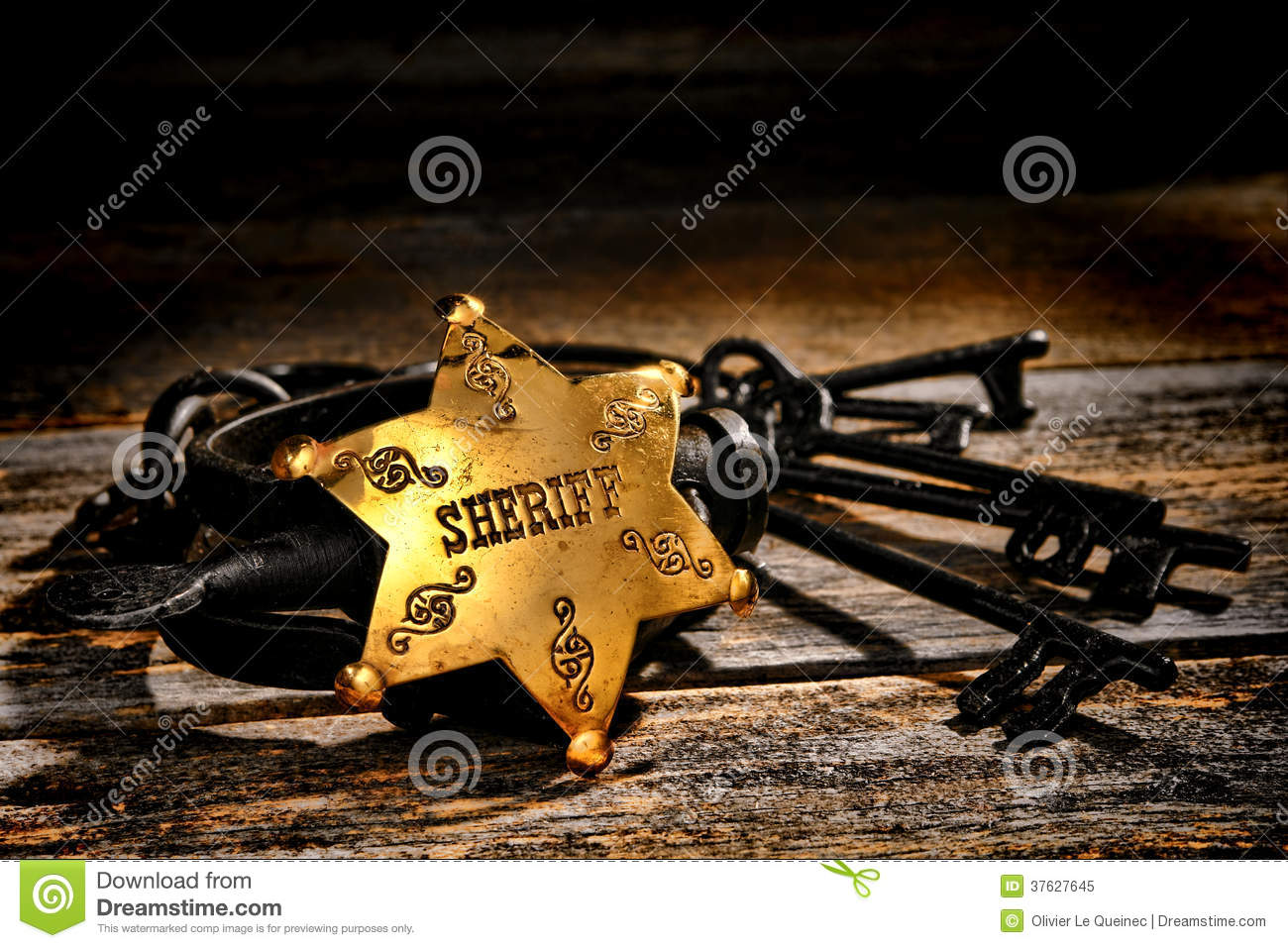 American west sheriff star badge and old handcuffs stock - Sheriff wallpaper ...