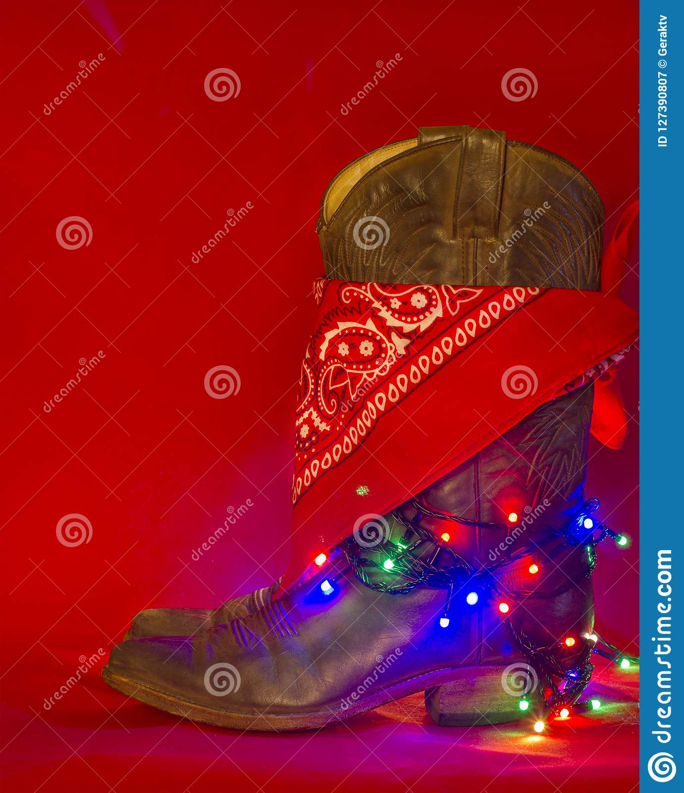 American West traditional boots and cowboy bandanna on christmas